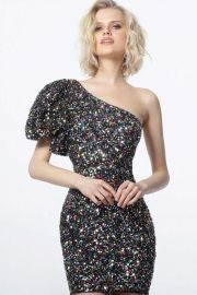 1898 Black Multi One Shoulder Sequin Cocktail Dress by Jovani at Couture Candy