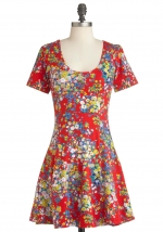 Red floral dress at Modcloth
