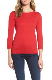 1901 Back Button Crewneck Sweater  Regular  amp  Petite at Nordstrom