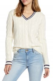 1901 V-Neck Wool  amp  Cashmere Cable Sweater   Nordstrom at Nordstrom