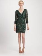Longsleeve green sequin dress at Saks Fifth Avenue