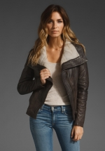 Brown and sheepskin jacket like Alexs at Revolve