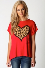 Red top with leopard pattern on it like Pennys at Boohoo