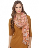 Peach patterned scarf at Lulus