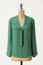 Annie's green polka dot top at Anthropologie