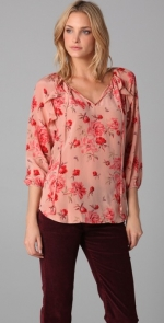 Rebecca Taylor pink flower blouse at Shopbop