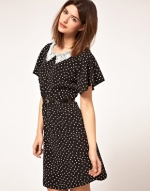 Black dress with white lace collar at Asos