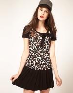 Leopard print shirt with black sleeves at Asos