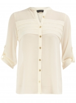 White blouse with pleat details at Dorothy Perkins