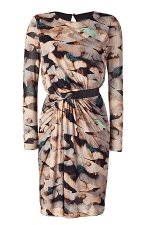 Saloni Champagne draped dress with leather trim at Stylebop