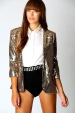 Gold sequin blazer like Lemons at Boohoo