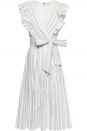 Wrap-effect striped stretch-cotton midi dress at The Outnet