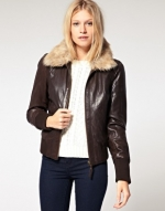 Brown leather jacket with fur collar at Asos