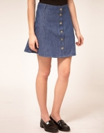 Denim button up skirt like Pennys at Asos