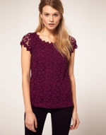 Dark purple crochet top at Asos