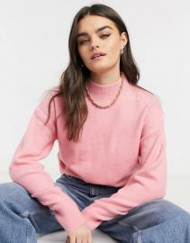 & Other Stories mock neck sweater in hot pink at Asos
