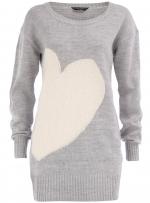 Grey jumper with heart print at Dorothy Perkins