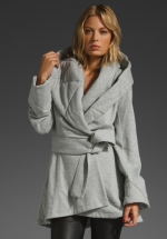 Grey wrap coat like Pennys at Revolve