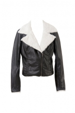 Lapel Black Biker Jacket at Romwe