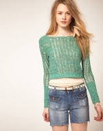 Free People green crochet jumper at Asos