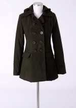 Olive green coat at Delias