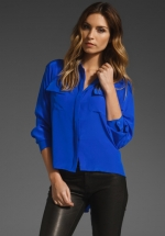 Cobalt blue top with pockets at Revolve