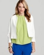 White collarless jacket like Janes at Bloomingdales