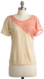 Top with pink lace section at Modcloth