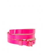 Fluro pink skinny belt at Asos