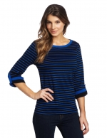 Blue and black striped tee at Amazon