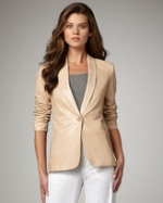 Cream leather blazer at Neiman Marcus