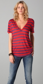 Red and navy striped shirt at Shopbop
