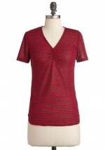 Red vneck striped top at Modcloth