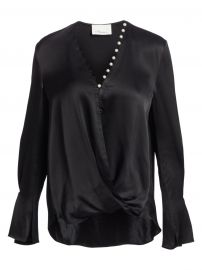 3 1 Phillip Lim - Faux-Pearl Trim Satin Drape Blouse at Saks Fifth Avenue