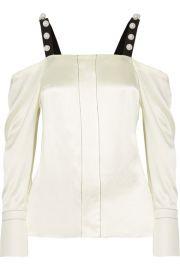 3 1 Phillip Lim   Cold-shoulder faux pearl-embellished silk-satin blouse at Net A Porter