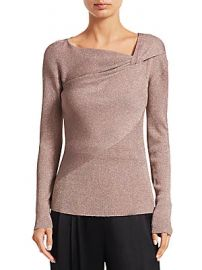 3 1 Phillip Lim - Twist-Neck Ribbed Lurex Sweater at Saks Off 5th