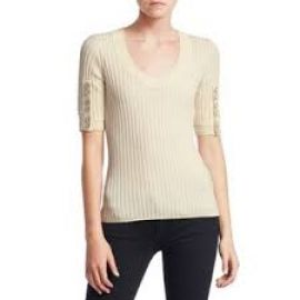 3.1 Phillip Lim Button Detail Sleeve Sweater at Saks Fifth Avenue