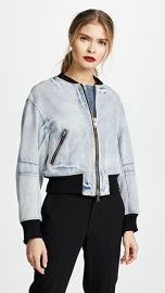 3 1 Phillip Lim Denim Bomber Jacket with Zip at Shopbop
