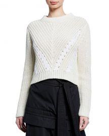 3 1 Phillip Lim Drape-Neck Cropped Cotton Pullover Sweater at Neiman Marcus