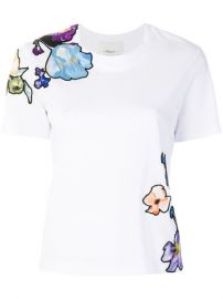 3 1 Phillip Lim Floral-embroidered T-shirt  295 - Buy Online - Mobile Friendly  Fast Delivery  Price at Farfetch