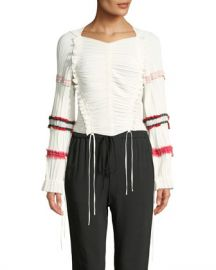 3 1 Phillip Lim Gathered Long-Sleeve Ruffle Top at Neiman Marcus