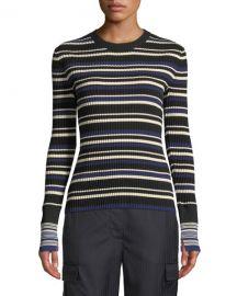 3 1 Phillip Lim Multi Striped Silk Cotton Pullover Sweater at Neiman Marcus