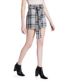 3 1 Phillip Lim Plaid Belted Short Shorts at Neiman Marcus