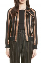 3 1 Phillip Lim Ruffle Stripe Satin Bomber  Nordstrom Exclusive at Nordstrom