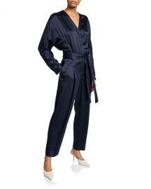 3 1 Phillip Lim Satin Menswear Belted Jumpsuit at Neiman Marcus