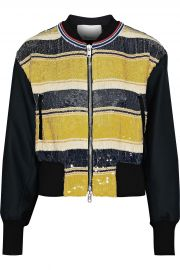 3.1 Phillip Lim Striped sequined gauze and duchesse-satin bomber jacket at The Outnet