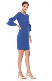 3/4 Bell Sleeve Shift Dress with Bow Detail at Amazon