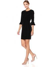 3/4 Bell Sleeve Velvet Sheath Dress at Amazon