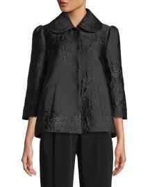 3/4-Sleeve Peter Pan Collar Metallic-Jacquard Jacket at Bergdorf Goodman