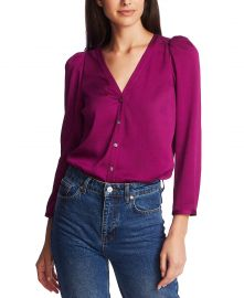 3/4-Sleeve Puffed-Shoulder Top at Macys